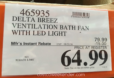 Costco 465935 - Deal for the Delta Breez VFB80HLED2 Ventilation Bath Fan at Costco