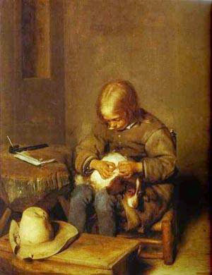 Menino Tirando Pulga do seu Cão - Gerard Terborch ~ Pintor Barroco ~ Holandês