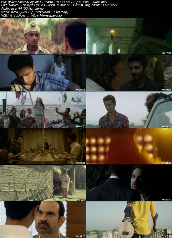 Zubaan 2016 Hindi 720p HDRip 900MB