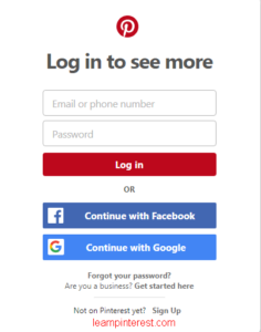 Steps On How To Pinterest Account Login with Facebook