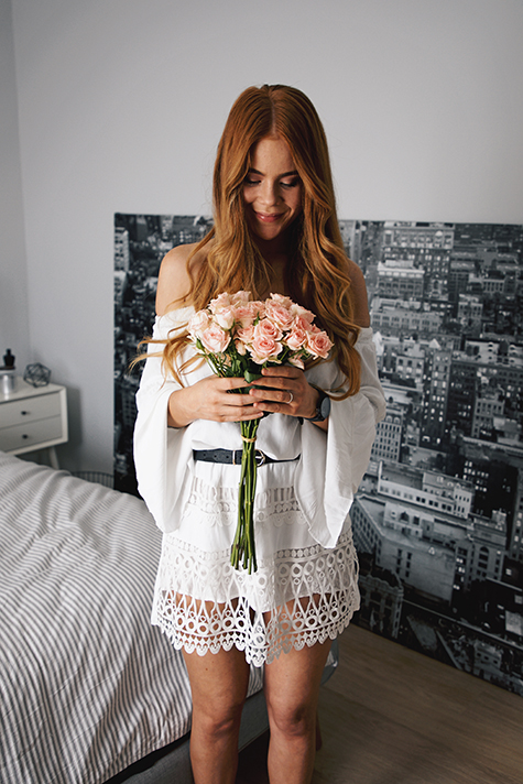 cluse la roche, black marble watch, pink roses, white off shoulder dress, Kiara King