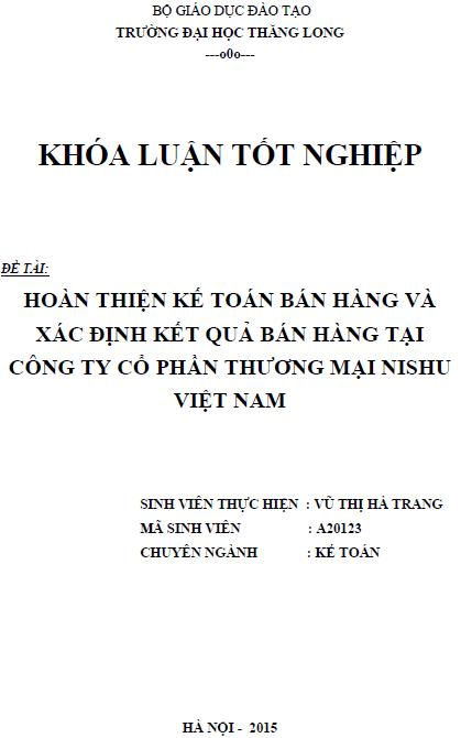 Hoàn thiện kế toán bán hàng và xác định kết quả bán hàng tại Công ty Cổ phần Thương mại Nishu Việt Nam