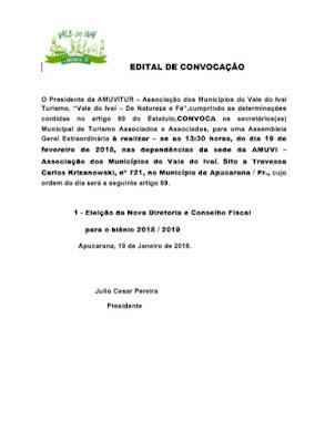 Edital de convocação de eleição da Amuvitur