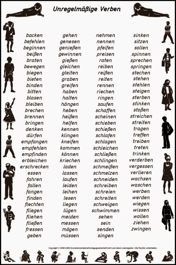 regelmäßige verben englisch tabelle