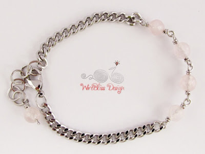 Wire wrapped Minima Bracelet (Minlet) with Rose Quartz (Love Stone)