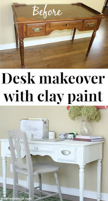 Painting an old desk with clay paint