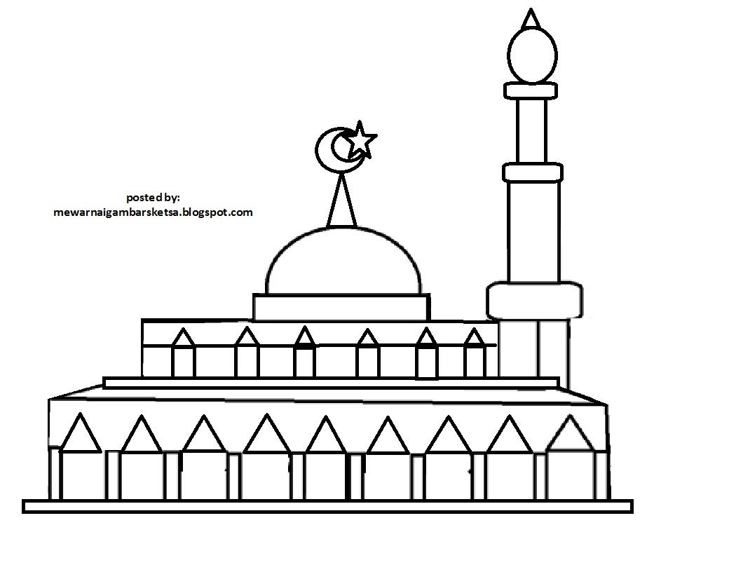 Gambar Gambar Mewarnai Tempat Ibadah Berdoa Kumpulan Masjid
