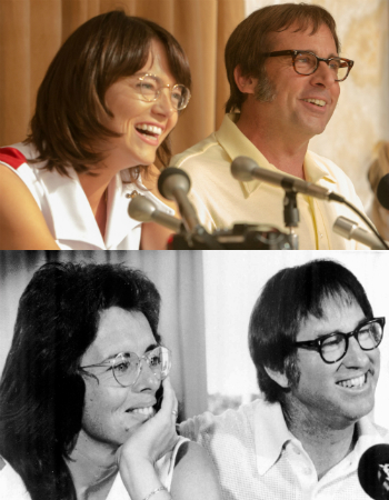 Emma Stone and Steve Carell, Bill Jean King and Bobby Riggs