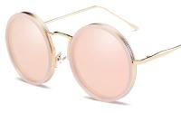 lunette de soleil rose ronde Style Chanel