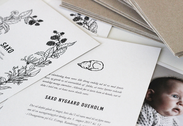 Invitations for naming celebration designed by Anja Mulder, via Scandinavian Love Song