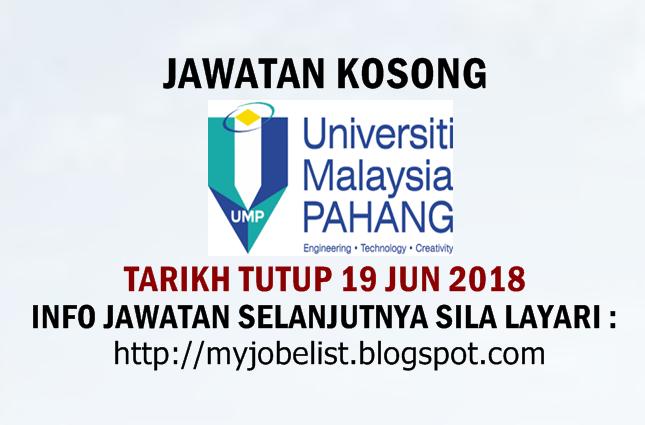 Jawatan Kosong di Universiti Malaysia Pahang (UMP) Jun 2018
