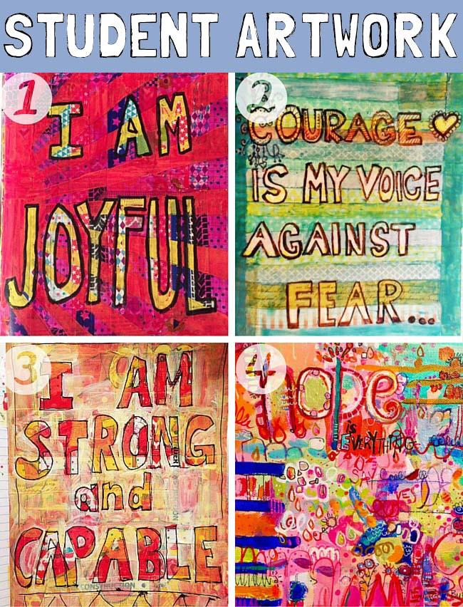 art journal ideas   art journal techniques   art journal pages http://schulmanart.blogspot.com/2016/03/positive-thinking-power.html