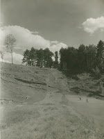 A ski hill in summer.