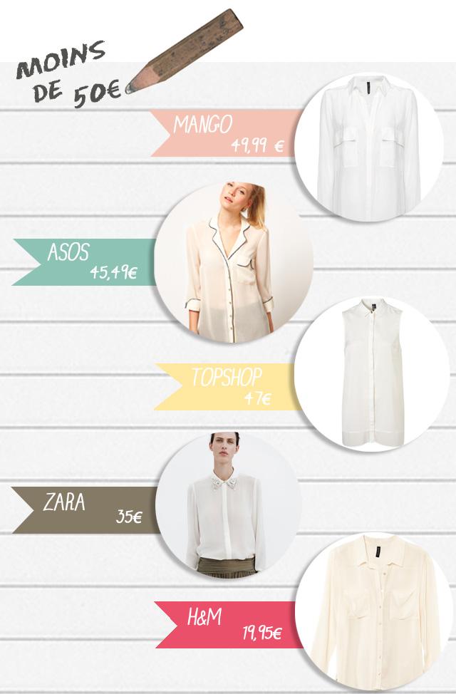 chemise blanche  pas chère