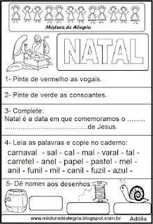 Atividades com a palavra natal - desenho