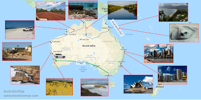 Indicates the route around Australia with things to see in each place.