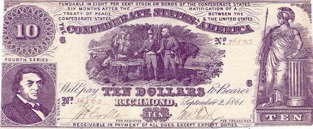 Confederate Currency 10 Dollar bill 1861 Sweet Potato Dinner