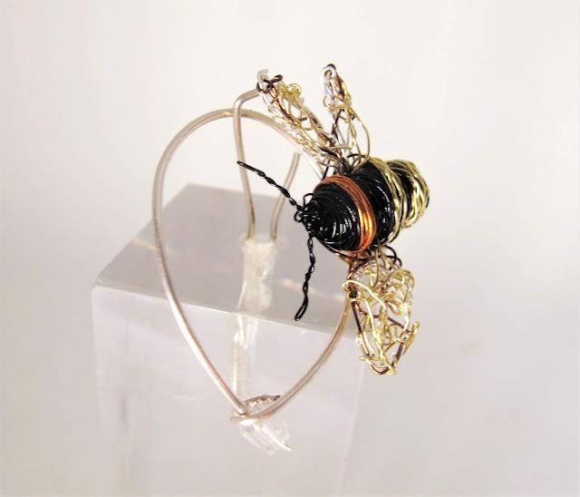 Bee art brooch, modern brooch