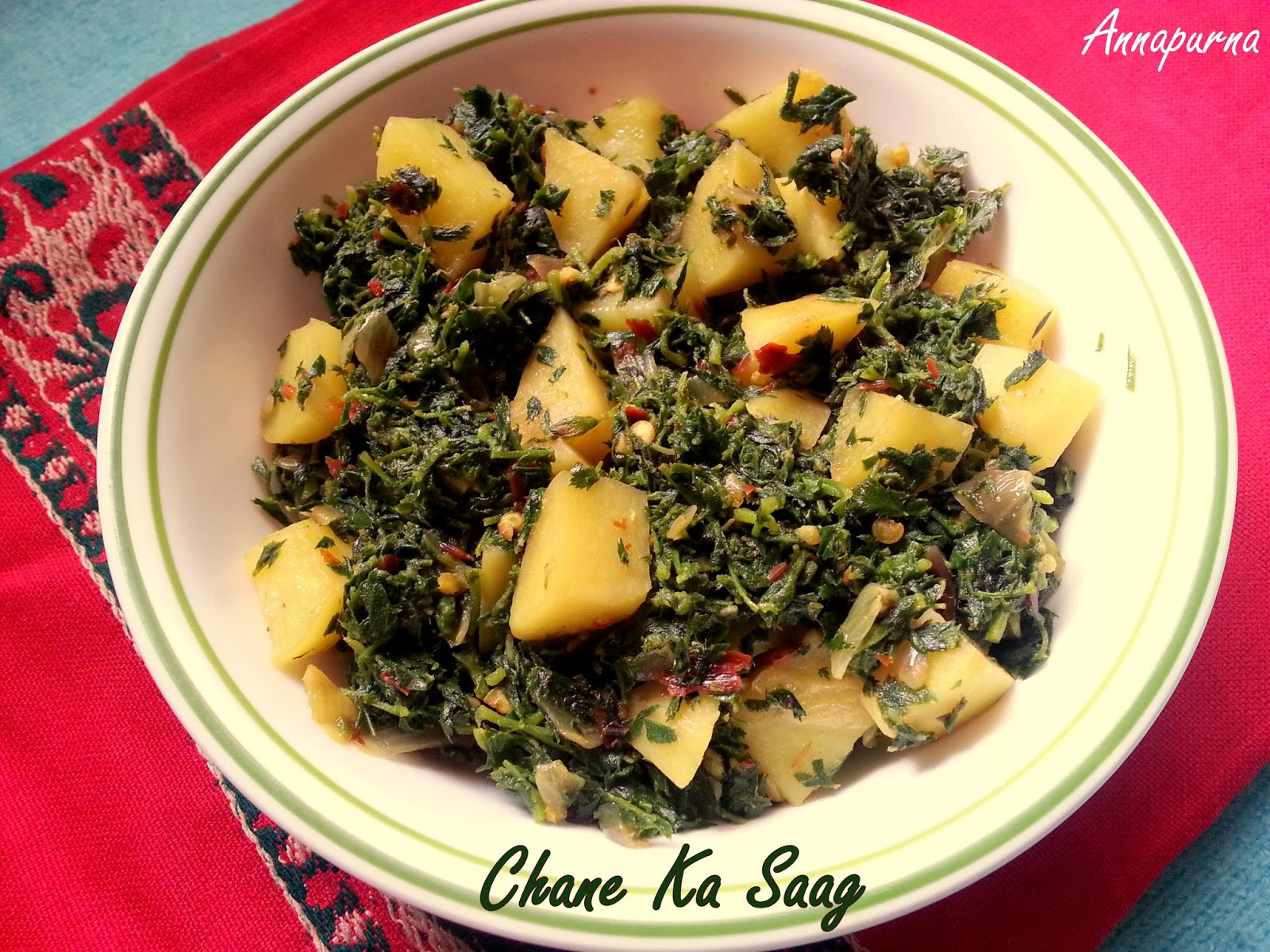 Annapurna chane ka saag chickpea leaves with potato stir fry recipe chane ka saag chickpea leaves with potato stir fry recipe forumfinder Image collections