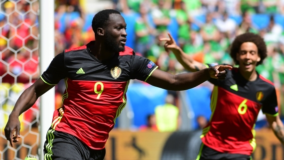 Romelu Lukaku (left) celebrating with Axel Witsel (right) for Belgium.