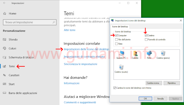 Windows 10 finestra Impostazioni icone del desktop