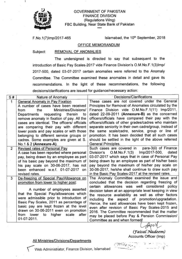 Removal of Anomalies  Basic Pay Scales 2018 Finance Division Pakistan
