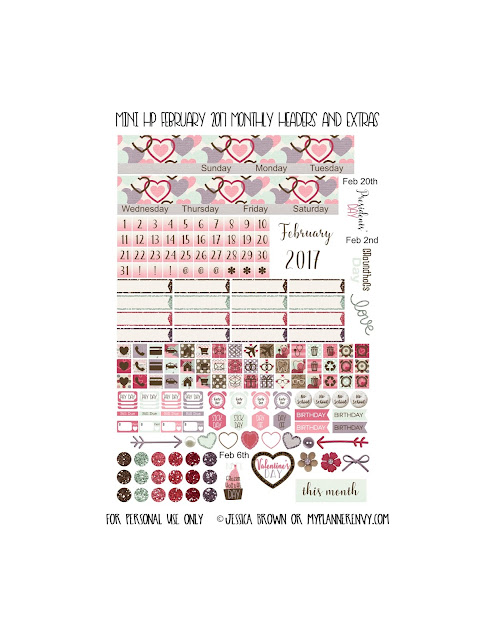 Free Printable February 2017 Monthly Headers and Extras for the Mini Happy Planner from myplannerenvy.com