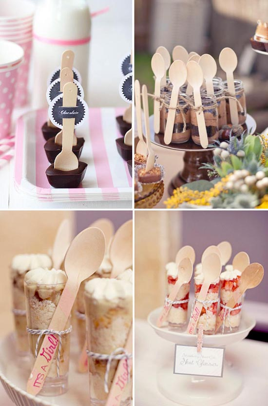 La decoración de la candy bar puede ser muy fácil con estas preciosas cucharas de madera. Úsalas para acompañar a tus dulces.