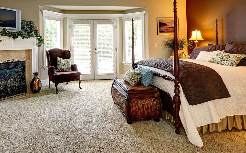 luxurious bedroom with plush carpet