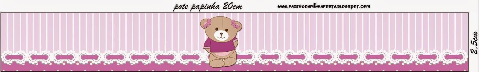 Etiquetas de Osita en Fondo Lila para imprimir gratis.