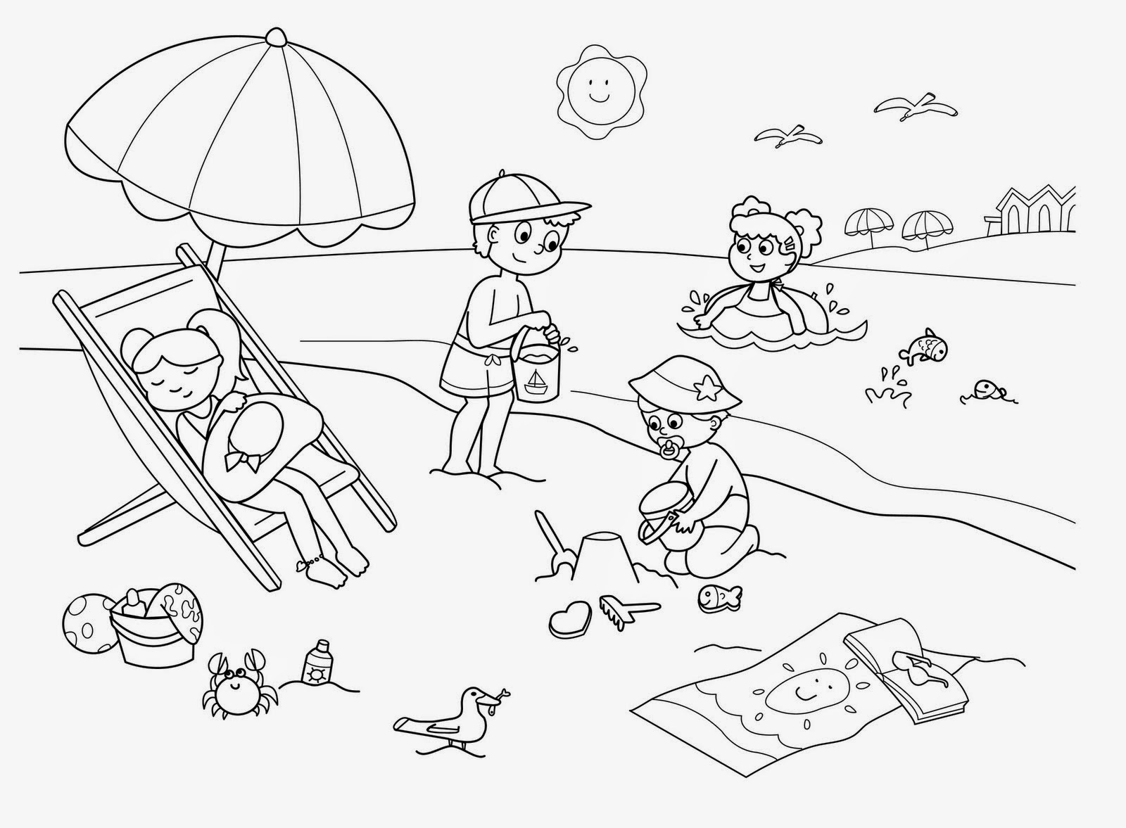 seaside coloring pages - desenhos de f rias para pintar colorir imprimir