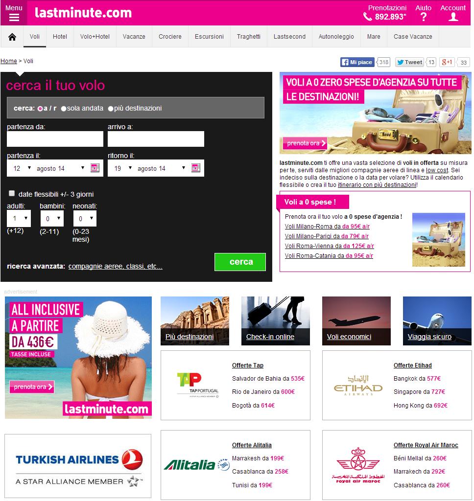 Cerca voli con Lastminute.com