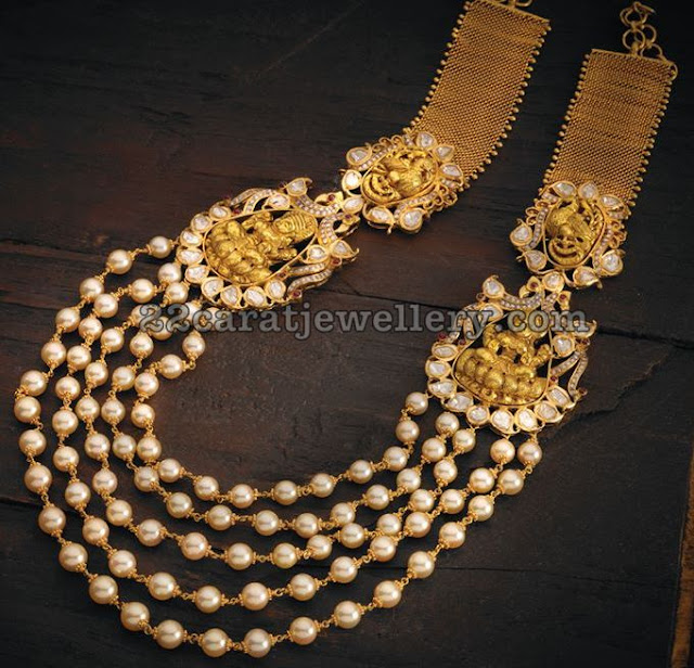 Five Layer Pearls Set with Lakshmi Peacocks