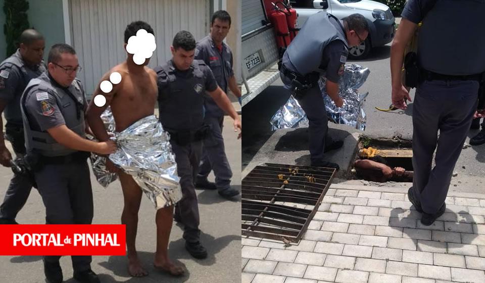 Após tentativa de roubo, ladrão foge e é resgatado dentro de bueiro em Pinhal