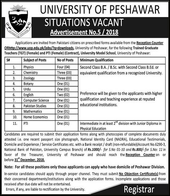 University Model School Peshawar Jobs 2019 Teachers Jobs