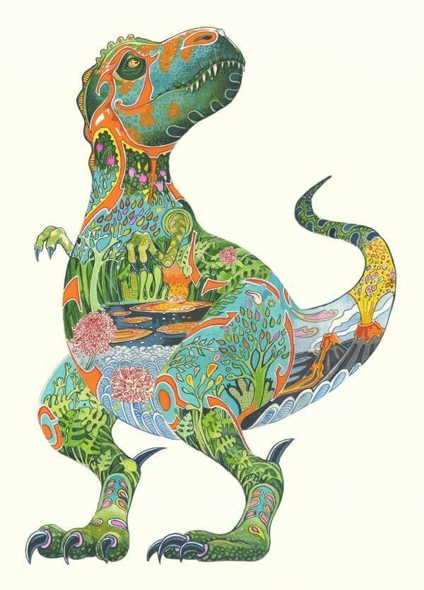 09-Dinosaur-Tyrannosaurus-Rex-Daniel-Mackie-Flora-and-Fauna-Watercolour-illustrations-www-designstack-co