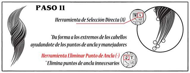 Tutorial en español de Adobe Illustrator para Crear Cabello Estilizado Paso 11