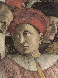 Ludovico Gonzaga in a detail from a  painting by Andrea Mantegna