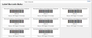 sistem informasi perpustakaan - cetak barcode buku