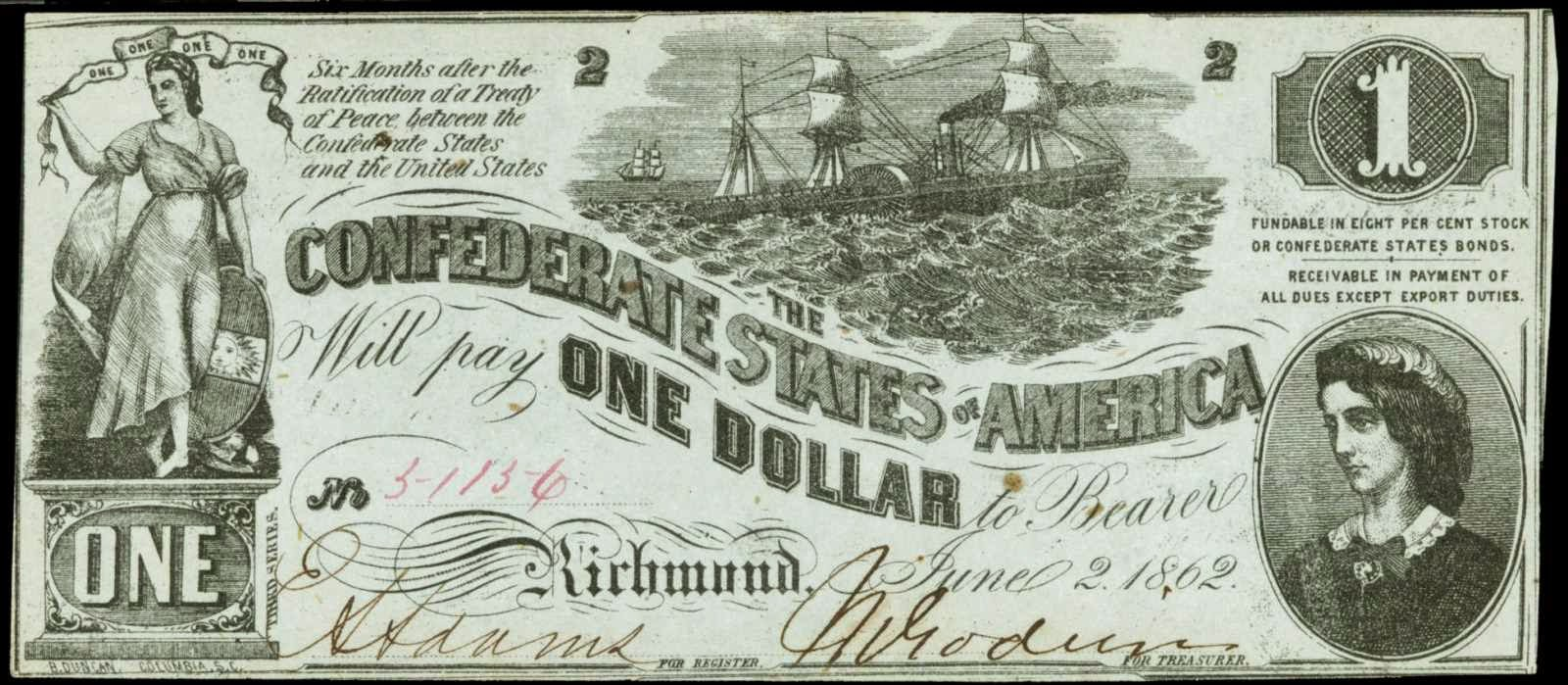 CSA Confederate States of America Dollar 1862 Lucy Pickens