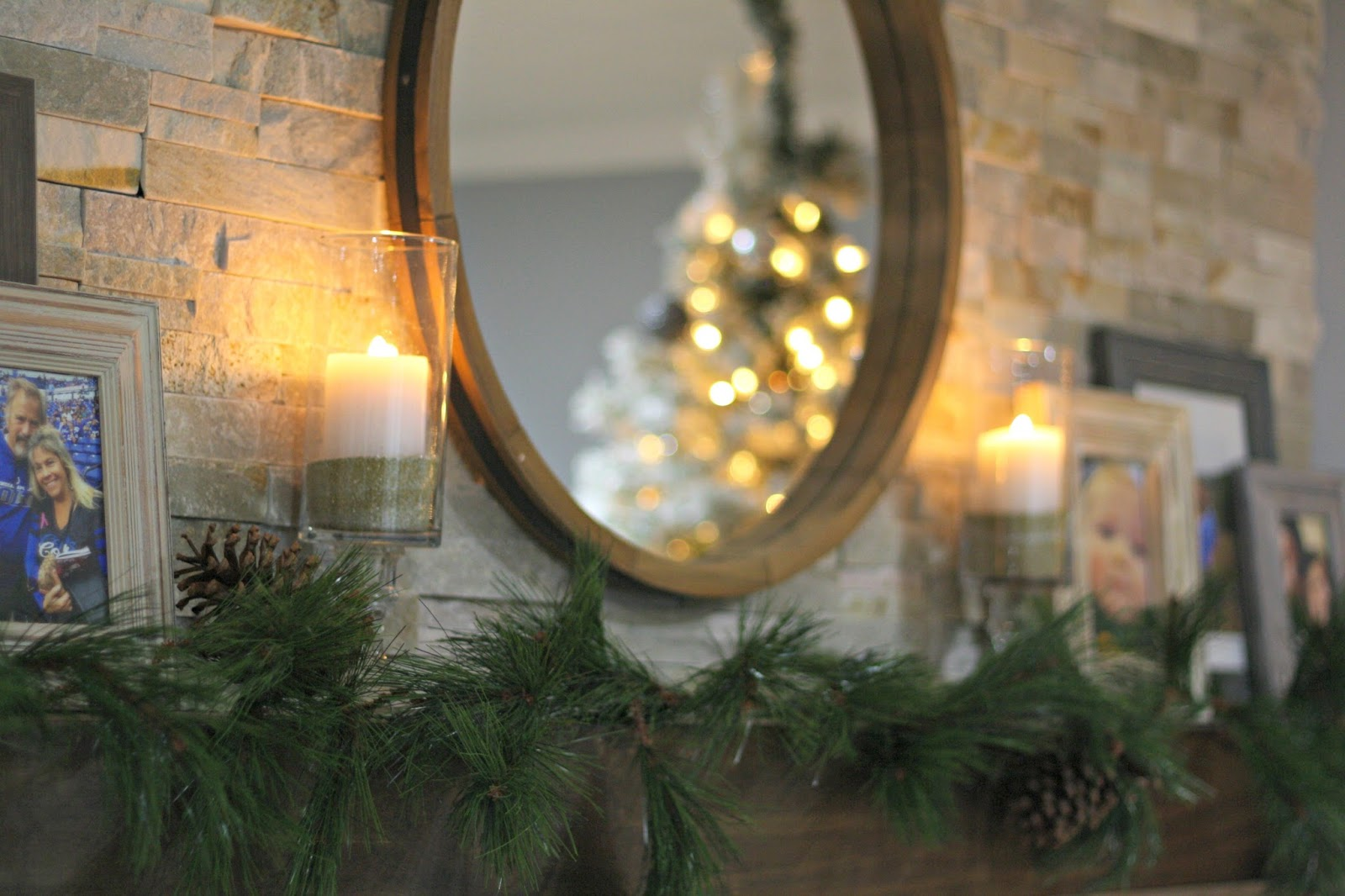 stacked stone fireplace Christmas