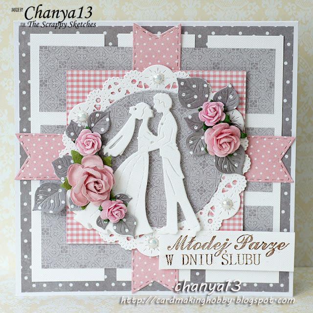 167. Kartka ślubna popielato-różowa
