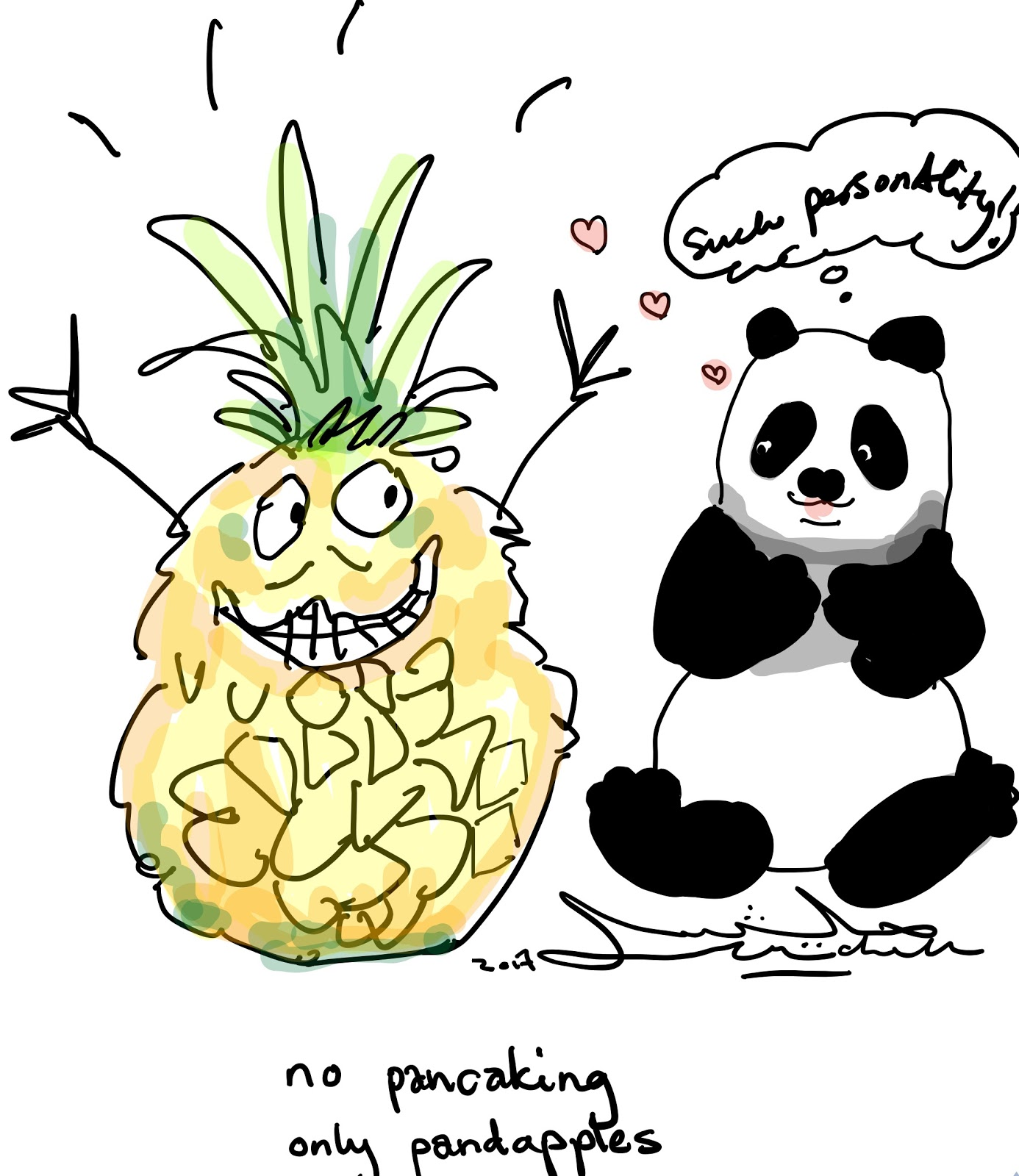 A panda approves of an excitable pineapple in a cartoon