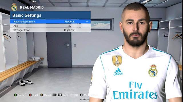 PES 2017 Karim Benzema Face 2018