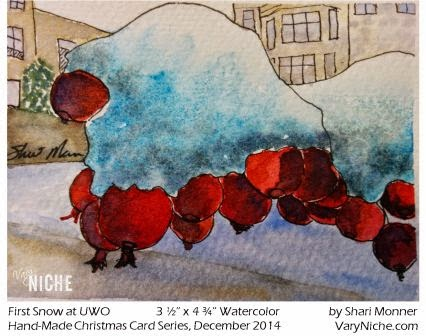 Watercolor Painting of Snow Covered Berries by Shari Monner, VaryNiche.com