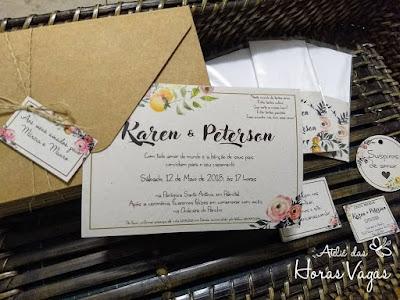 convite de casamento artesanal personalizado rústico estampa floral aquarelado papel kraft e recilado complemento papelaria personalizada lenços tags