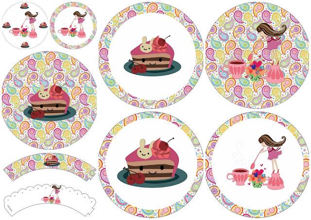 Fiesta de Té de Chicas: Toppers y Wrappers para Cupcakes para Imprimir Gratis.