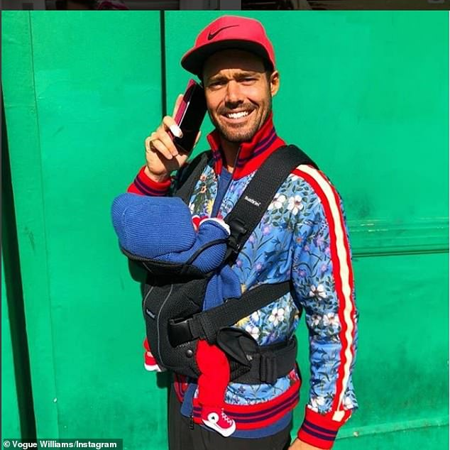 Spencer Matthews cuddles his one-month old son Theodore