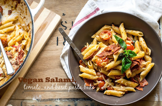 Vegan salami, tomato, and basil pasta bake.