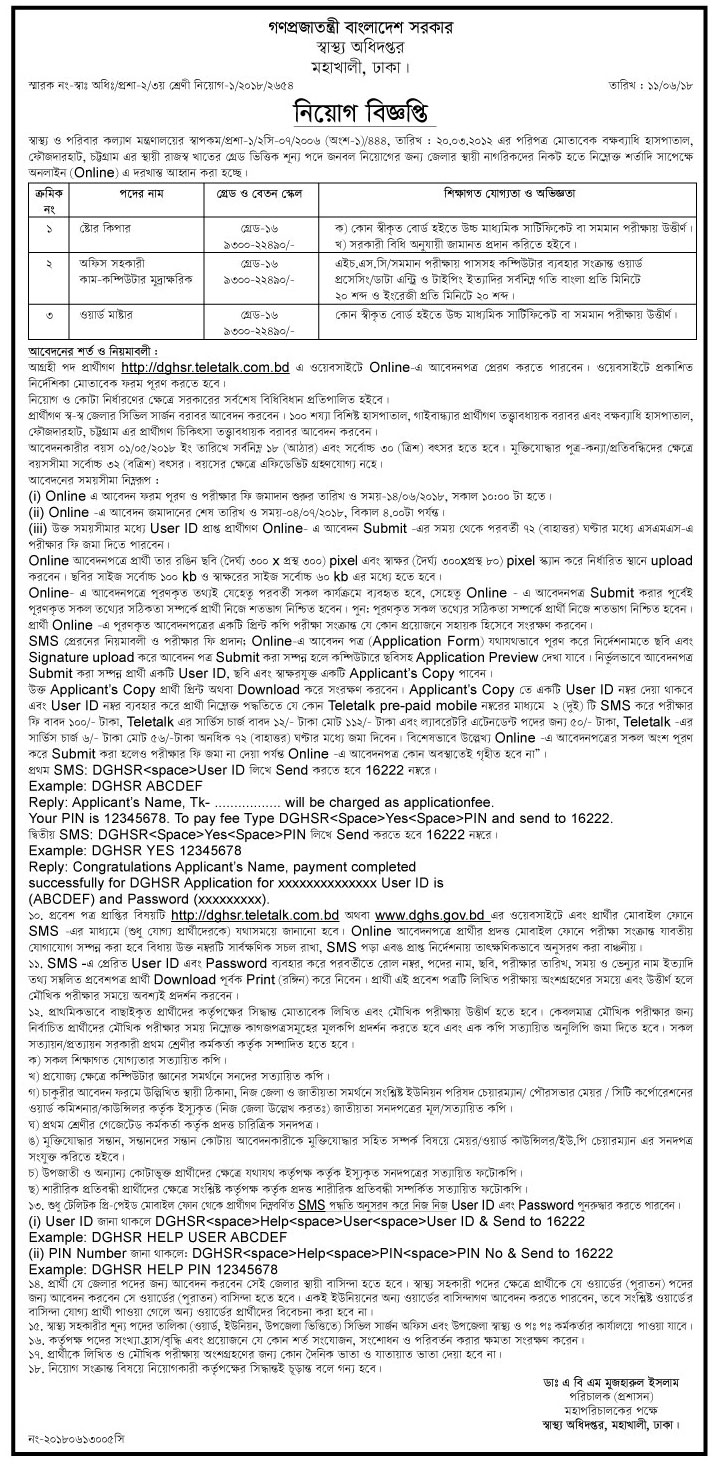 Directorate General of Health Services (DGHS) Job Circular 2018